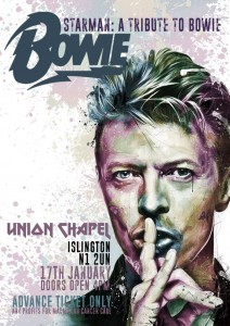 Starman, a tribute to Bowie, Union Chapel, Islington, 17 January, doors 16.00, advance ticket only